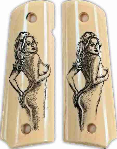 Colt 1911 Ivory-Like Grips With Naked Lady