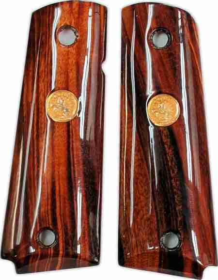 Colt 1911 Wood Grips, Goncalo Alves With Medallions